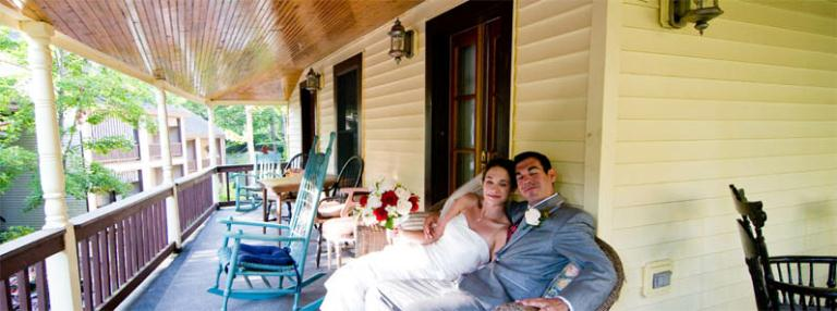 Image: Happy New Couple Who Recently Stayed with Us, Relaxing on One of the Porches of the Tally-Ho